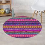 Colorful Neon Tribal Navajo Aztec Lovely Design Round Rug Home Decor