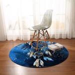 Dreamcatcher Feathers Blue Dreamy Round Rug Home Decor