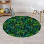 Palm Leaf Tropical Green Round Rug Home Decor