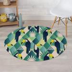 Patchwork Tropical Toucan Round Rug Home Decor