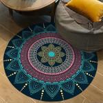Dark Blue Moroccan 3d Round Rug Home Decor