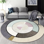 Multi-color Round Shape Patterned Round Rug Home Decor