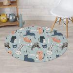 Meow Meow Cat Design Round Rug Home Decor