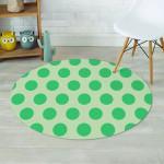 Green Polka Dot Round Rug Home Decor