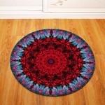 Deep Red Traditional Vintage Geometric Illustration Round Rug Home Decor