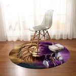 Lion Dreamcatcher Brown And Purple Theme Round Rug Home Decor