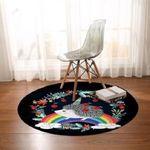 Rainbow Hedgehog Flower Wreath Black Theme Round Rug Home Decor
