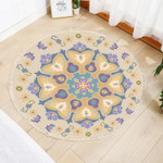 Yellow Floral Pattern Wheat Theme Round Rug Home Decor