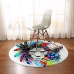 Tribal Lion Colorful Round Rug Home Decor
