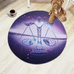 Zodiac Constellations Libra Illustration Round Rug Home Decor