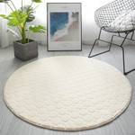 White Modern Solid Colour Coral Round Rug Home Decor