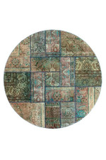 Vintage Art Persian Hand Knotted Patchwork Round Rug Home Decor
