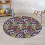 Mexican Skull Design Round Rug Home Decor