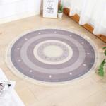 Purple Round Cotton Linen Round Rug Home Decor