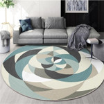 Multicolor Stitching Flower Shaped Texture Round Rug Home Decor