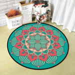 Hot Pink And Cyan Beautiful Vintage Flower Texture Round Rug Home Decor