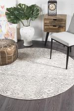 Oasis Ismail White Grey Rustic Round Rug Home Decor