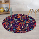 Aztec Psychedelic Trippy Daily Activities Pattern Round Rug Home Decor