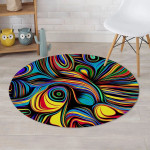 Abstract Wavy Colorful Style Round Rug Home Decor