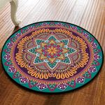 Teal And Purple Gorgeous Vintage Round Rug Home Decor