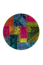 Bright Persian Hand Knotted Patchwork Round Rug Home Decor