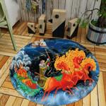 Orange Horse Abstract Modern Artistic Round Rug Home Decor