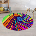 Abstract Psychedelic Colorful Wave Swirl Pattern Round Rug Home Decor