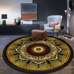 Golden Retro Artistic Round Rug Home Decor 05