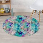 Mermaid Galaxy Design Round Rug Home Decor