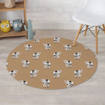 Cow Family Pattern Burly Wood Background Round Rug Home Decor