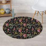 Janpanese Floral Dragon Design Round Rug Home Decor
