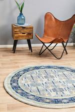 Century Vintage Blue Round Rug Home Decor