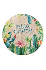 Hello Summer Colorful Background Round Rug Home Decor