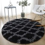 Black Dark Grey Soft Shaggy Round Rug Home Decor