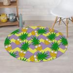 Zig Zag Pineapple Fruits Wear Glasses Round Rug Home Decor