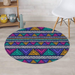 Multicolor Native Aztec Abstract Doodle Design Round Rug Home Decor