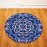 Dodger Blue And Purple Traditional Vintage Geometric Round Rug Home Decor
