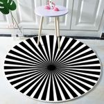 Black And White Stripes Visual Pattern Illusions Round Rug Home Decor