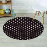 Black And White Tiny Polka Dot Funny Design Round Rug Home Decor