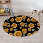 Sunflower Collection Black Theme Round Rug Home Decor