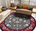 Red And Grey Theme Vintage Floral Pattern Round Rug Home Decor