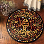 Khaki And Brown Traditional Pattern Round Rug Home Decor