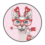 Red Sunglasses And Lovely Cat Round Rug Home Decor