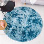 Beautiful Design Blue Round Super Soft Plain Shaggy Round Rug Home Decor