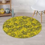 Hand Drawn Sunflower Yellow Theme Round Rug Home Decor