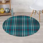 Blue Aqua Plaid Tartan Simple Design Round Rug Home Decor
