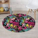 Graffiti Abstract Hiphop Lip Design Round Rug Home Decor