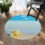 Yellow Starfish And Beautiful Beach Round Rug Home Decor