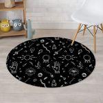 Black Gothic Witch Cute Symbol Round Rug Home Decor