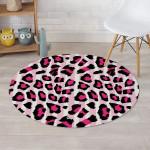 Pink Vertical Stripes Black And Pink Leopard Skin Round Rug Home Decor
